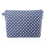 Makeup Pouch / Toiletry Bag with a Flat Bottom - Mini Polka Dots (Navy Blue)