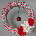 Christmas chevron wreath red, green and white with jingle bell