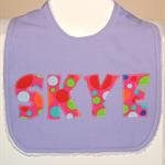 Purple custom made personalised name bib for girls