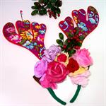 Reindeer antler flower crown headband - Christmas berries - purple - pink