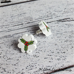Christmas - Holly Red and Green on white - Stud Earrings