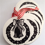 Christmas wreath linocut letterpress gift tags , pack of 5