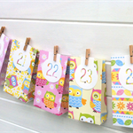 Cute Owl Christmas Advent Calendar garland. Handmade gift bags, Xmas decoration.