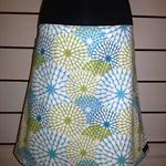 Skirt with Blue & Green Flowers & Bamboo Stretch Waist