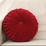Burgundy Coloured Vintage Style  Velvet round cushion