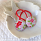 Christmas pink and red tea roses fabric button hair ties