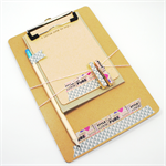 Clipboard Notecard Washi Tape Stationery Set - Fashion Words - CLI002