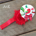 Audrey Button & Bow Christmas Stretch Headband