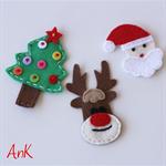 Annabelle Felt Clip Christmas - Santa, Reindeer or Tree