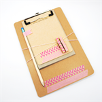 Clipboard Notecard Washi Tape Stationery Set - Pink Chevron - CLI001
