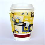 Coffee Cup Cuff/ Cosy/ Sleeve - Yellow & Grey