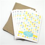 Blank Card Pack - Geometric Blue & Mustard Arrows - Set of 5 Cards -5PACK_NOT502