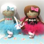 Winter and Autumn Ballerina - Handmade cloth dolls, set of 2