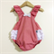 Red gingham ruffle playsuit. romper. anglaise lace. Christmas. sz 000-2
