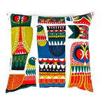 Owl Cushion Cover in Red, Green, Blue, Black and White