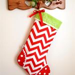 Personalised Christmas Stocking 'Cherry Red Chevron'