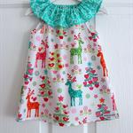 Christmas Holiday Ruffle Neck Dress Baby Girls