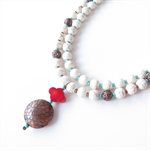 Sashi  2 strand cream, copper and red coral necklace