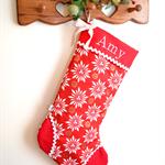 Personalised Christmas Stocking 'Red Snowflake'