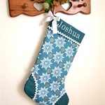 Personalised Christmas Stocking 'Teal Snowflake'