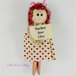 Teacher's Gift Fridge Magnet  Peg Doll
