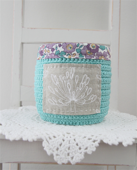 crochet storage basket, teal with agapanthus and purple flowers, free postage