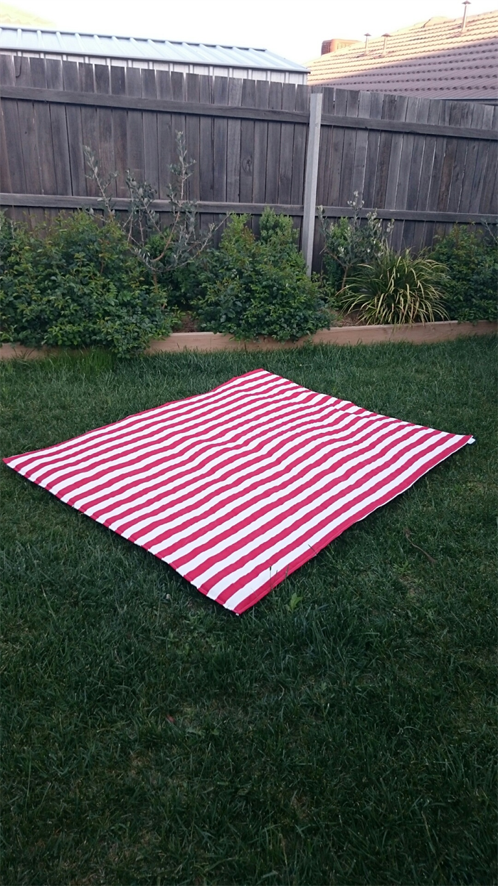 Picnic blanket red stripes emby love for Au maison picnic blanket