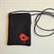 Small crossbody phone purse. Black canvas with Red vinyl bird detail.