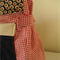 Red and white gingham with polka dot maroon and pink bird lining on blue tote