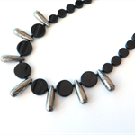 Spike black and silver gemstone Onyx and Pyrite necklace