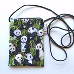 Small crossbody phone purse. Long adjustable strap. Black and white panda bears.