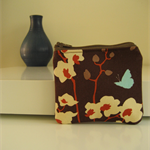 Chocolate brown, cream floral print purse with blue butterfly