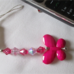Phone charm, pink with hot pink butterfly.