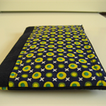 Green, yellow blue polka dot and cross with navy corduroy wristlet white lining