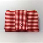 Wallet Purse, Red Gingham, 2 zippered pouches, 12 card slots