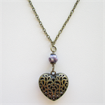 Gorgeous Lace Heart Long Chain Brass Necklace