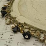 ~ EBONY BELLE ~ vintage charm bracelet black & pearls Swarovski crystals