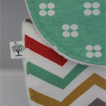 baby bib - organic bamboo,green, white, chevron, two pack
