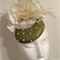 Green and Ivory Fascinator Headpiece