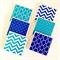 Aqua & Blue Coasters - 6 Ceramic Tile Drink Coasters Chevron Scales Moroccan