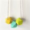 Yellow, Mint and Lime Wooden Geometric Necklace