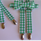 Green gingham bow tie and braces set - green white, boys clothes, party clothes