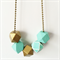 Mint & Gold Wooden Geometric Necklace