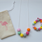 Girls clay bead necklace and bracelet set with flamingo gift bag!