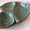 OOAK Handpainted Retro Wooden Bowl  -  Turquoise, Sea Breeze, Mango, White