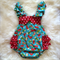 Happy Holiday Christmas playsuit. ruffles. aqua. stockings sz 2