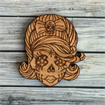 QLD Walnut brooch. Rockabilly Sugar Skull.