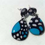 Button and drop TURQUOISE, BLACK & WHITE earrings - ONE OFF