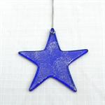 Unique Fused Glass Dark Blue Star, Sun Catcher - Christmas Decoration