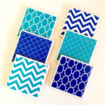 Aqua & Blue Coasters - 6 Ceramic Tile Drink Coasters Chevron Scales Moroccan